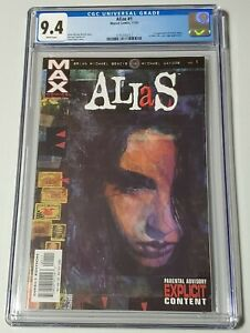 Alias #1 CGC Graded 9.4 White Pages First Appearance of Jessica Jones! Plus 2-8!