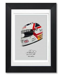 NIGEL MANSELL SIGNED HELMET POSTER PRINT PHOTO AUTOGRAPH GIFT F1 FORMULA 1 ONE