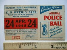 Orig 1948 Rochester Transit Trolley & Bus NY Weekly Pass Annual Police Ball