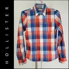 Hollister Men Button Front Plaid & Check Career Formal Shirt Size Small S