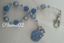 Personalised Boys ❤ Bling Dummy Clip,blue Pearl & Crystal ❤ Romany Boxing Glove