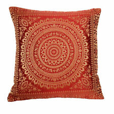 Red/Maroon Mandala Cushion Covers Antique Style Banarasi Indian 38cm