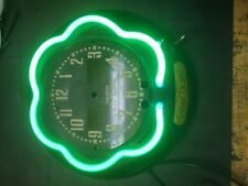 canadian neon ray small clock outer neon tube  green electric  clock vintage