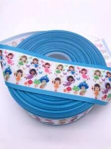 "Fairy Blue Edge 50mm 2"" Grosgrain Ribbon per meter"