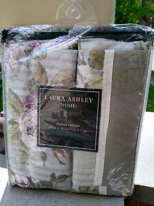 """Laura Ashley Shower Curtain Lavendar purple Rose 100% Cotton Bath Sz 72""""x72"""""""
