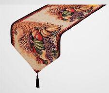 "Autumn Harvest Thanksgiving Cornucopia Tapestry Fabric Table Runner 69""L"
