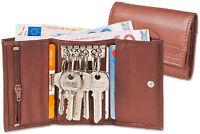 Rimbaldi® Leder Schlüsseltasche & Geldbörse mit 6 Schlüsselhaken in Braun
