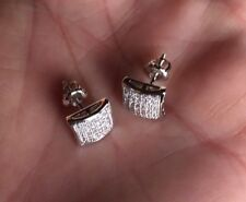 Mens Ladies 18K W Gold Finish 0/5 ct. VS1 Lab Diamond Screw Back Stud Earrings