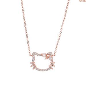 Fashion Cute Kitty Girls Pendant Necklace Jewelry AAA Zircon Full Pave Setting