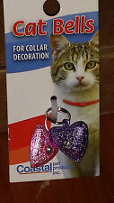 COASTAL PET BELLS 2 PACK FROSTED HEART JEWEL TRACKING TEA CUP FREE SHIP IN USA