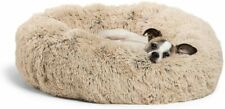 Pet Calming Shag Vegan Fur Donut Cuddler Soft Warm Calming Round Bed Dog Cat USA