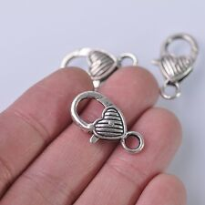 10pcs 25mm Heart Silver Plated Loose Clasp Hooks Charms Jewelry Making Findings
