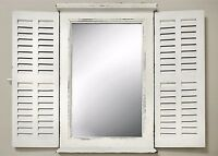 Wall Mirror White with Window Shutters Wood Country Folding
