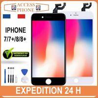 ECRAN LCD VITRE TACTILE SUR CHASSIS IPHONE 7/ 7+ / 8 /8 PLUS Noir Blanc + OUTILS