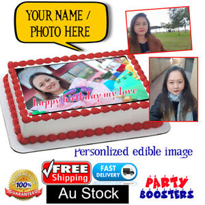 🏅 Personalised Edible Cake cupcake custom Print Topper Birthday Party Hens Gift