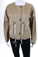 Badgley Mischka Womens Sportswear Jacket Size 10 Khaki Cotton New $485 BSJ5030