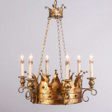Homary Pendant Noble Crown Candelabra Style Chandelier Lamps Metal Antique Gold