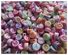 Acrylic Letter Beads - Flat Round - 7mm - Mixed Colour - 7 Alphabet Sets