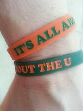 """Miami Hurricanes Wristbands Bracelet NCAA """"IT'S ALL ABOUT THE U"""" Set Of 2"""
