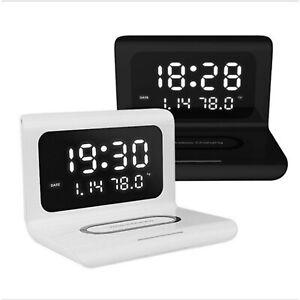 10W Clock Qi Wireless Charger LED Digital Alarm Phone Charging Light Pad Station