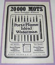 B1134/ PORTE-PLUME WATERMAN PUBLICITE ANCIENNE 1908 AUTHENTIQUE REVUE D'ÉPOQUE
