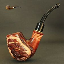 "Hand Carved, Exclusive Tobacco Wooden Smoking Pipe "" Ship "" + Box"