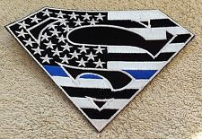 SUPERMAN AMERICAN FLAG PATCH Thin Blue Line B/W Cloth Jacket Badge Iron Sew USA