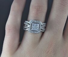 $2600 10K White Gold Princess Diamond Engagement Ring Bridal Set Band 6.75