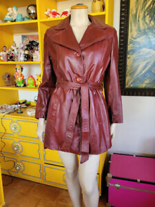 Vtg 70s Disco Pimpin' Burgundy Leather Zip Out Lining Belted Mini Trench Coat M