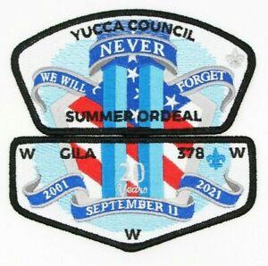 9/11 20th Anniversary Flap CSP Set Gila Lodge 378 Yucca Council Patches TX OA