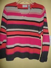 Liz Claiborne Pink Orange Beige Brown Knit Striped V-neck PM Sweater Pullover