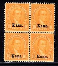 1¢ WONDER'S ~ US #668 BLK4 F-VF MH 10¢ KANSAS OVEPRINT ~ O843
