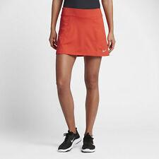 "Nike Dry Women's 14.5"" Golf Skort Built-in Shorts Max Orange Metallic Silver L"