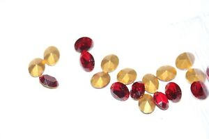 #D9 10X8MM OVAL GLASS RUBY RED FACETED STONES  7PC
