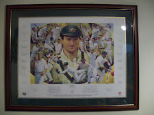 AUSTRALIAN CRICKET TEAM SIGNED PRINT,STEVE WAUGH,WON 12 TESTS IN A ROW