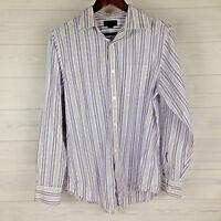 Banana Republic Slim Fit Mens Size Medium White Purple Striped Long Sleeve Shirt