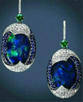 HOT Women 925 Silver Real Blue Opal Sapphire Ear Hook Hoop Earrings Wedding