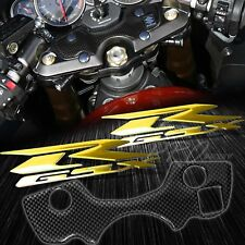 Handle Yoke Carbon Fiber Look Cover+Chrome Gold Emblem Sticker 08+ GSX1300R Busa