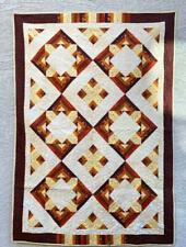 Brown Quilt - Handmade Quilt -Flower stitch pattern