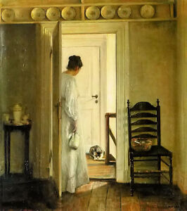 Oil painting carl vilhelm holsoe - a saucer of milk young woman in room canvas