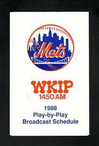 New York Mets--1988 Pocket Schedule--WKIP/Pit Stop