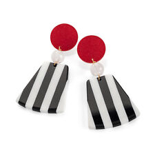 Ladies Red, Black and White Striped Drop Earrings Fashion Jewellery