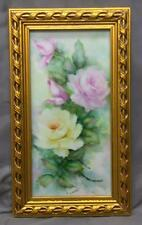 Old Vintage Hand Painted Porcelain Plaque Painting Pink Yellow Roses Flowers Art