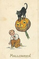 Ce-234 Halloween Boy Black Cat and Jack O'Lantern Divided Back Postcard