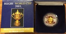 2003 rugby World Cup $5 gold plated silver coin 1 oz