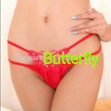 Sexy Women Double Layer Butterfly Embroidery  G-String Thongs Underwear UK STOCK
