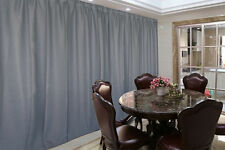 Large Linen Fabric Blockout Curtain 265x230cm PINCH PLEAT+Hooks Gray w/ Blue