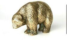 Vintage brass bear walking paperweight figurine