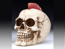 Collectible PUNK SKULL Handpainted Resin Statue RED MOHAWK ROCKER