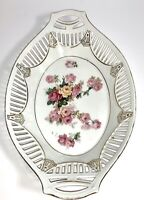 """10"""" Vintage Porcelain Dish w/Reticulated Lace Edge Floral Rose Pattern ~Germany"""